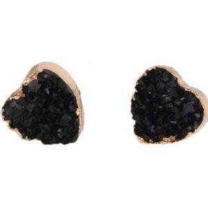 Jewelry - Black druzy heart earrings